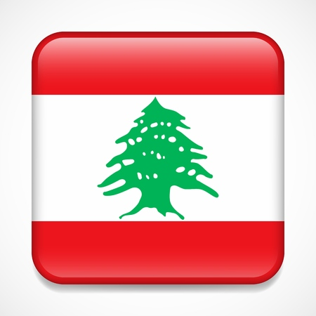 Flag of Lebanon. Square glossy badge