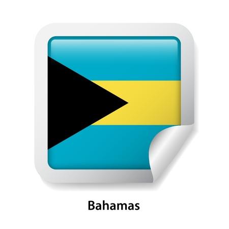 Flag of Bahamas. Round glossy sticker Illustration