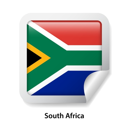 Flag of South Africa. Round glossy badge sticker Ilustração