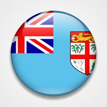 Flag of Fiji. Round glossy badge