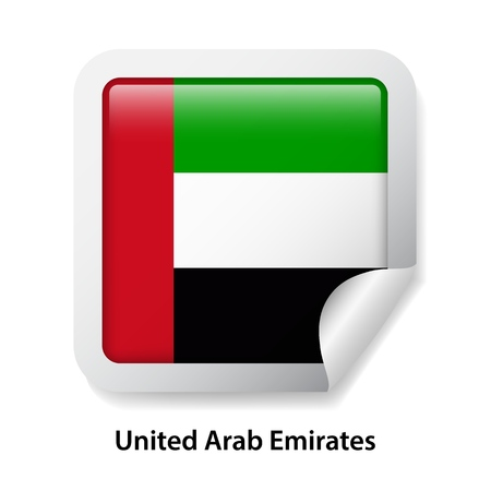 Flag of the United Arab Emirates. Round glossy UAE badge sticker Ilustração