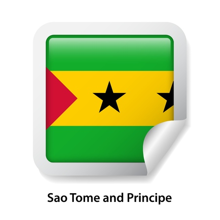 Flag of Sao Tome and Principe. Round glossy badge sticker Ilustração Vetorial
