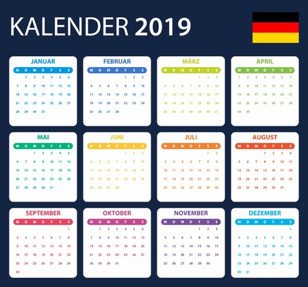 German Calendar for 2019. Scheduler, agenda or diary template. Week starts on Monday