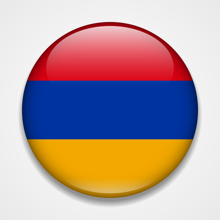 Flag of Armenia. Round glossy badge