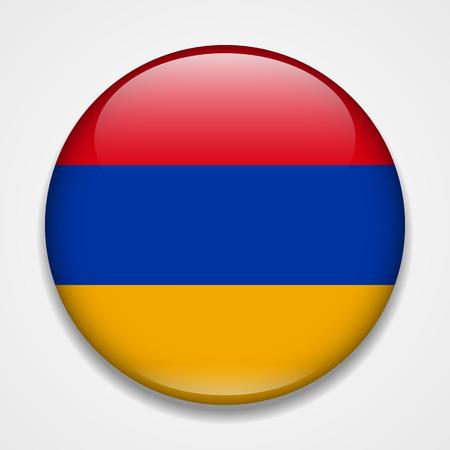 Flag of Armenia. Round glossy badge Standard-Bild - 114283798