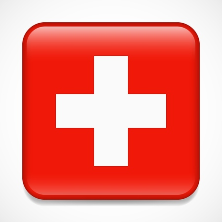 Flag of Switzerland. Square glossy badge