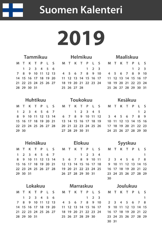 Finnish Calendar for 2019. Scheduler, agenda or diary template. Week starts on Monday Standard-Bild - 114283800