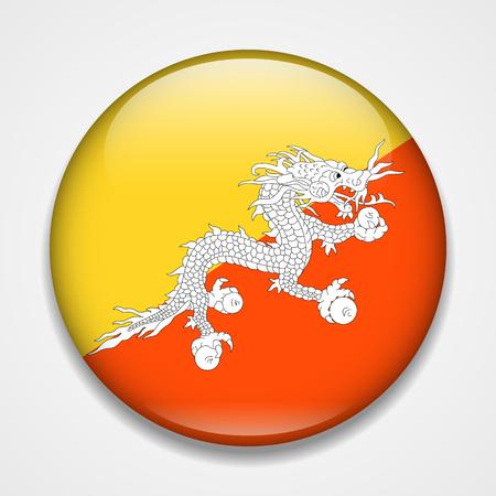 Flag of Bhutan. Round glossy badge Ilustração
