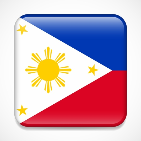 Flag of Philippines. Square glossy badge Иллюстрация