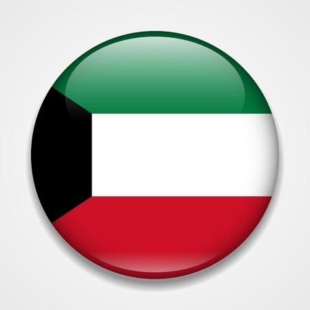 Flag of Kuwait. Round glossy badge Ilustração