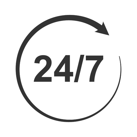 Icon of symbol, sign Open around the clock or 24 hours a day and 7 days a week Standard-Bild - 114283806