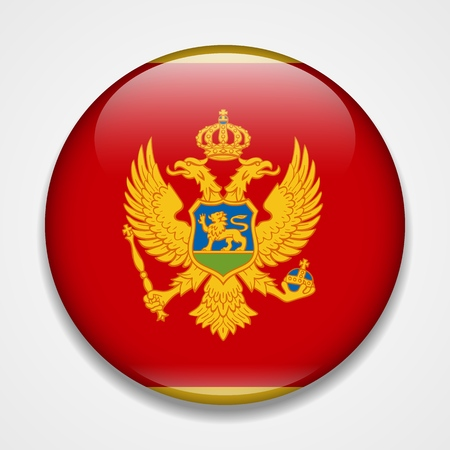 Flag of Montenegro. Round glossy badge
