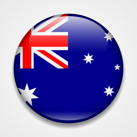 Flag of Australia. Round glossy badge