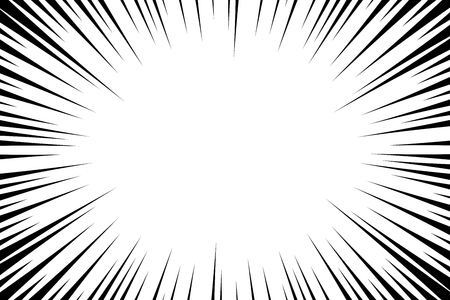 Comic book radial lines background. Manga speed frame. Explosion vector illustration. Star burst or sun rays abstract backdrop Çizim