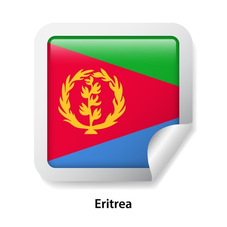 Flag of Eritrea. Round glossy sticker