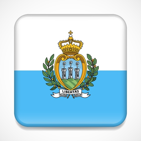 Flag of San Marino. Square glossy badge Standard-Bild - 114283833