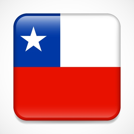 Flag of Chile. Square glossy badge