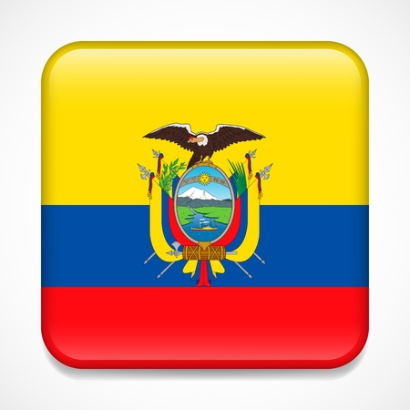 Flag of Ecuador. Square glossy badge Çizim