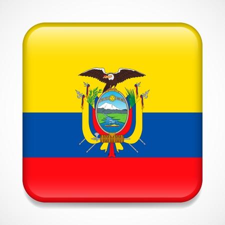 Flag of Ecuador. Square glossy badge Illustration