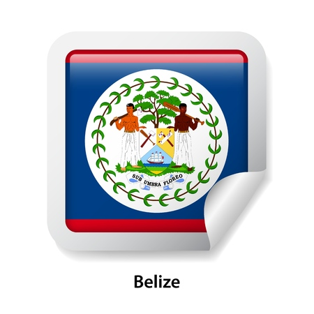 Flag of Belize. Round glossy sticker Çizim