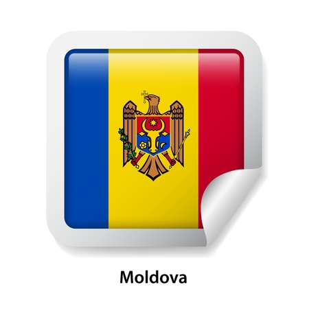 Flag of Moldova. Round glossy sticker Stock Illustratie