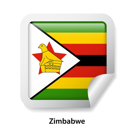 Flag of Zimbabwe. Round glossy badge sticker