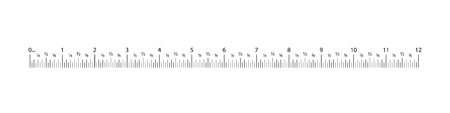 Plantilla de cuadrícula de regla de 12 pulgadas. Graduación de la herramienta de medición. Indicadores de tamaño de pulgadas métricas.