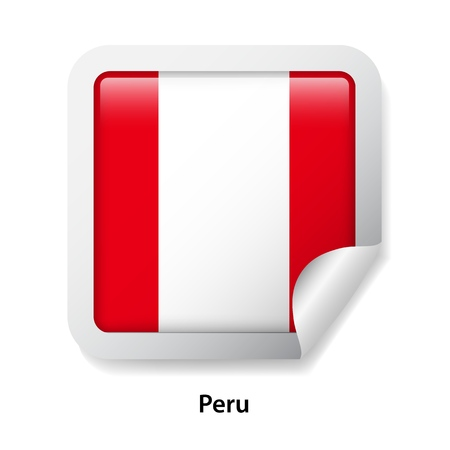 Flag of Peru. Round glossy sticker