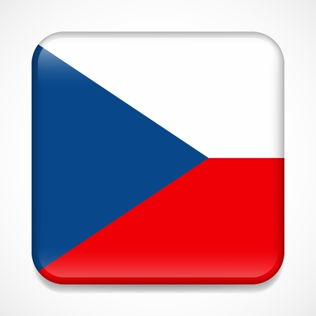 Flag of Czech Republic. Square glossy badge