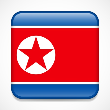 Flag of North Korea. Square glossy badge Stock Illustratie