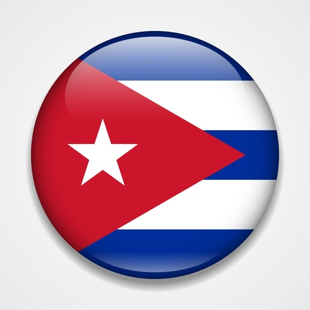 Flag of Cuba. Round glossy badge
