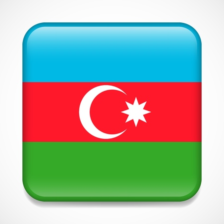 Flag of Azerbaijan. Square glossy badge