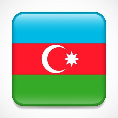 Flag of Azerbaijan. Square glossy badge