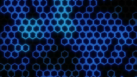 Abstract futuristic hexagon glowing neon surface, structure. HUD.