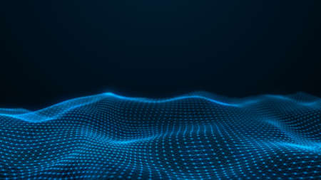 Abstract flowing smooth Plexus fractal waves background. Grid, mesh of dots and lines.