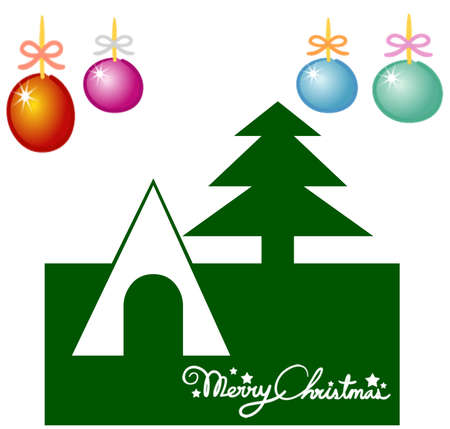 Christmas tree with ornaments, xmas card Stock Photo - 11330091