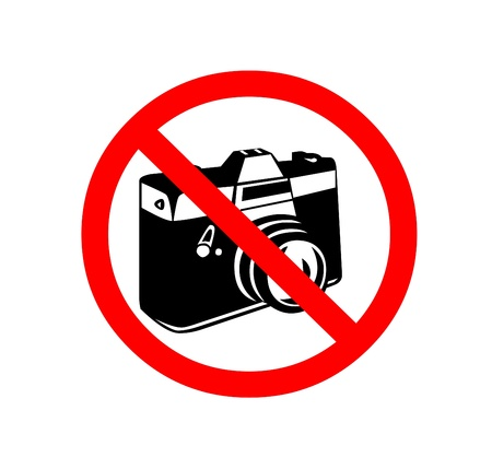 photography logo: No photo camera shiny sign Stock Photo