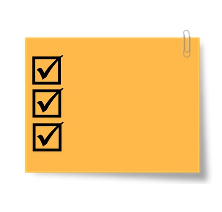 thumbtacked: note with completed checklist