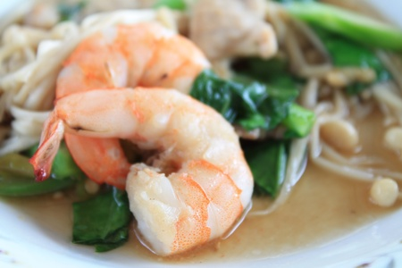 Seafood Pad Thai Fried Rice Noodles Stock Photo