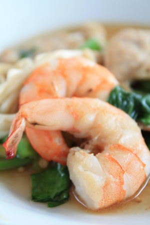 Seafood Pad Thai Fried Rice Noodles Stock Photo - 11963350