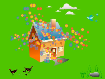a house is happy  Stock Vector - 12232169