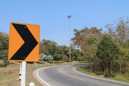 Traffic directional road signs pointing to right