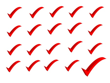 The one green tick in the row of red crosses Stock Photo - 13165503