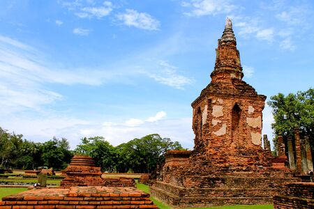 Mahathat temple in Sukhothai  Historical Park , Thailand Stock Photo