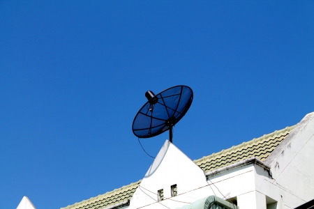 Satellite dish with sky on roof
