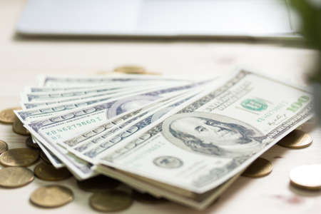 One Hundred Dollar Banknotes. Dollars Closeup Concept. American Dollars Cash Money.
