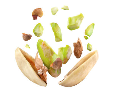 pistachio nut Blast side view on white isolated