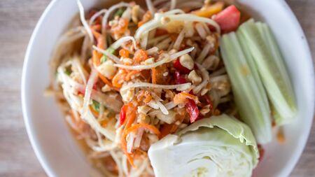 somtum:  papaya salad somtum  is thai food
