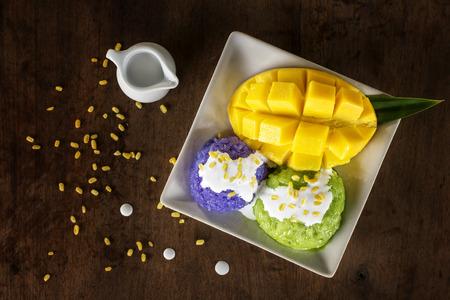 Thai style tropical dessert, Mango sticky rice.
