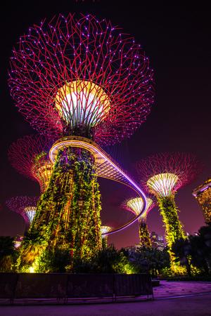 Singapore skyline at night in Singapore city Editorial